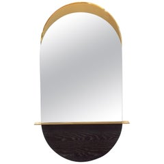 Solis Mirror, in Stock, Small, in Lacquered Brass and by Simon Johns