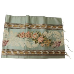 18th Century French Floral Green and Pink Silk Brocade Textile
