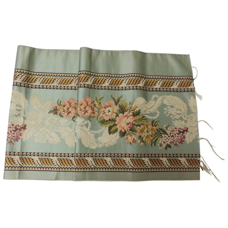 18th Century French Floral Green and Pink Silk Brocade Textile For Sale