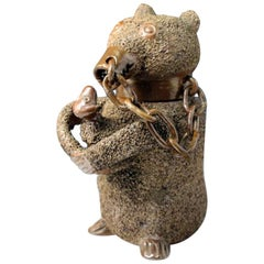 Stoneware Pottery Brown Saltglaze Jug in the Form of a Bear, 18th Century