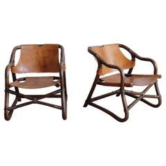 Pair of Bent Bamboo and Leather Lounge Chairs