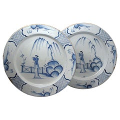Pair of English Blue and White Delftware Pottery Chargers, Mid-18th Century