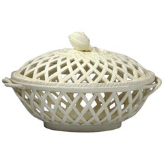 English Creamware Basket with Cover Staffordshire or Yorkshire Pottery