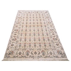 Persian Hand Knotted All-Over Floral Silk Isfahan Rug 18 Kheft