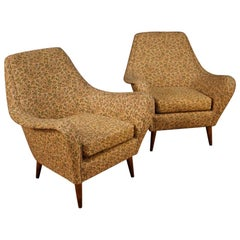 Ico Parisi 20th Century Floral Fabric Pair Of Italian Design Armchairs, 1960