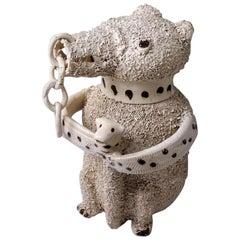 Antique Saltglaze Stoneware Pottery Bear Jug, English, Mid-18th Century