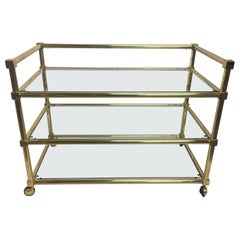 Three-Tier French Brass Bar Cart or Console