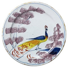 18th Century English Delftware Pottery Polychrome Decorated Plate with Peacock