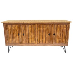 French Bamboo or Split Reed Grass Cloth Topped Four-Door Buffet on Iron Legs