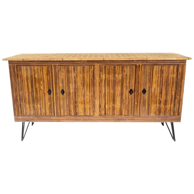 French Bamboo or Split Reed Grass Cloth Topped Four-Door Buffet on Iron Legs For Sale