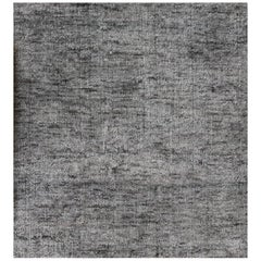 Solid Grey Rug, Hand-Loomed, Soft Feel, Bamboo Silk, Tonal, Light Grey Indigo
