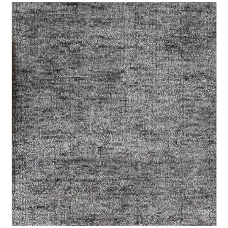 Solid Grey Hand-Loomed  Bamboo Silk Square Rug Like with Neutral Look - in Stock For Sale