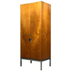 Knoll Armoire Cabinet in Teak and Chrome Custom Order Chest Bookshelf Credenza