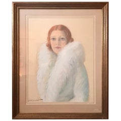 Pastel Portrait of Jeanette MacDonald American Singer and Actress