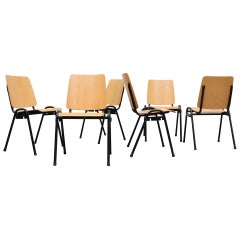 Kho Liang Ie Attributed Blonde Plywood and Tubular Metal Stacking Chairs