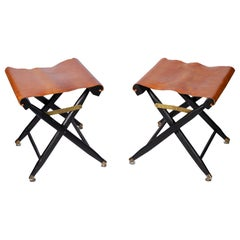 Pair of French Leather Folding Stools, 1940s