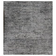 Light Grey Square Rug with Hints of Indigo Hand-Loomed in Bamboo Silk in Stock