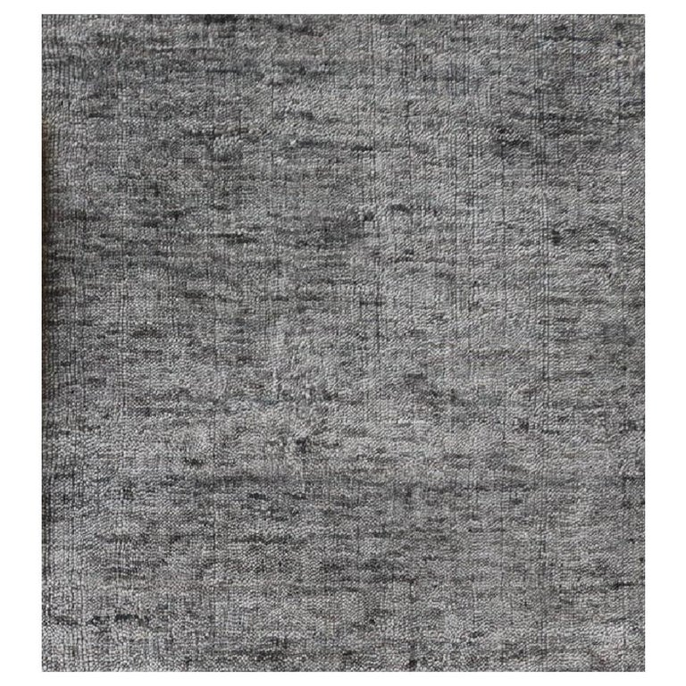 Tonal Solid Grey Rug, Hand-Loomed, Soft Feel, Bamboo Silk, Grey Indigo, Square For Sale