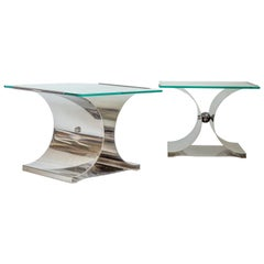 Vintage Pair of Francois Monnet 'Kappa' Chrome and Glass Side Tables
