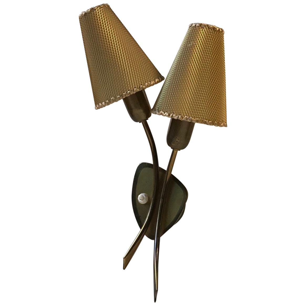 Midcentury Danish Brass Double Wall Light, 1950s
