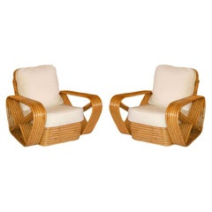 Restored Paul Frankl Style Square Pretzel Rattan Armchairs, Pair