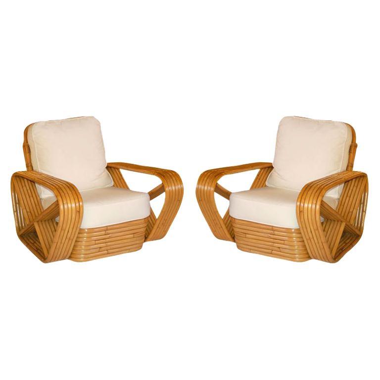Restored Paul Frankl Style Square Pretzel Rattan Armchairs, Pair For Sale