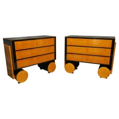 1940s Maple and Ebonized Wood Austrian Art Deco Chests of Drawers