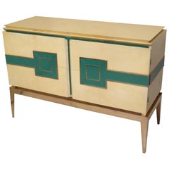 Midcentury Vitrified Goat Skin and Brass Legs Italian Sideboards, 1950