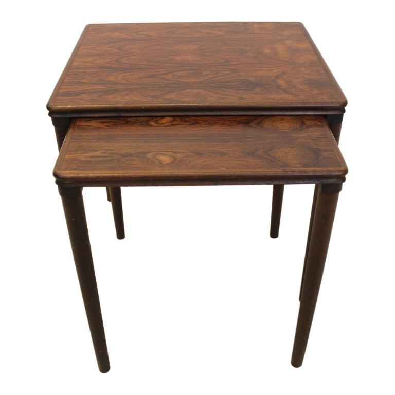 Danish Set Dark Oak Nesting Tables by E. W. Bach for Møbelfabrikken Toften, 1960