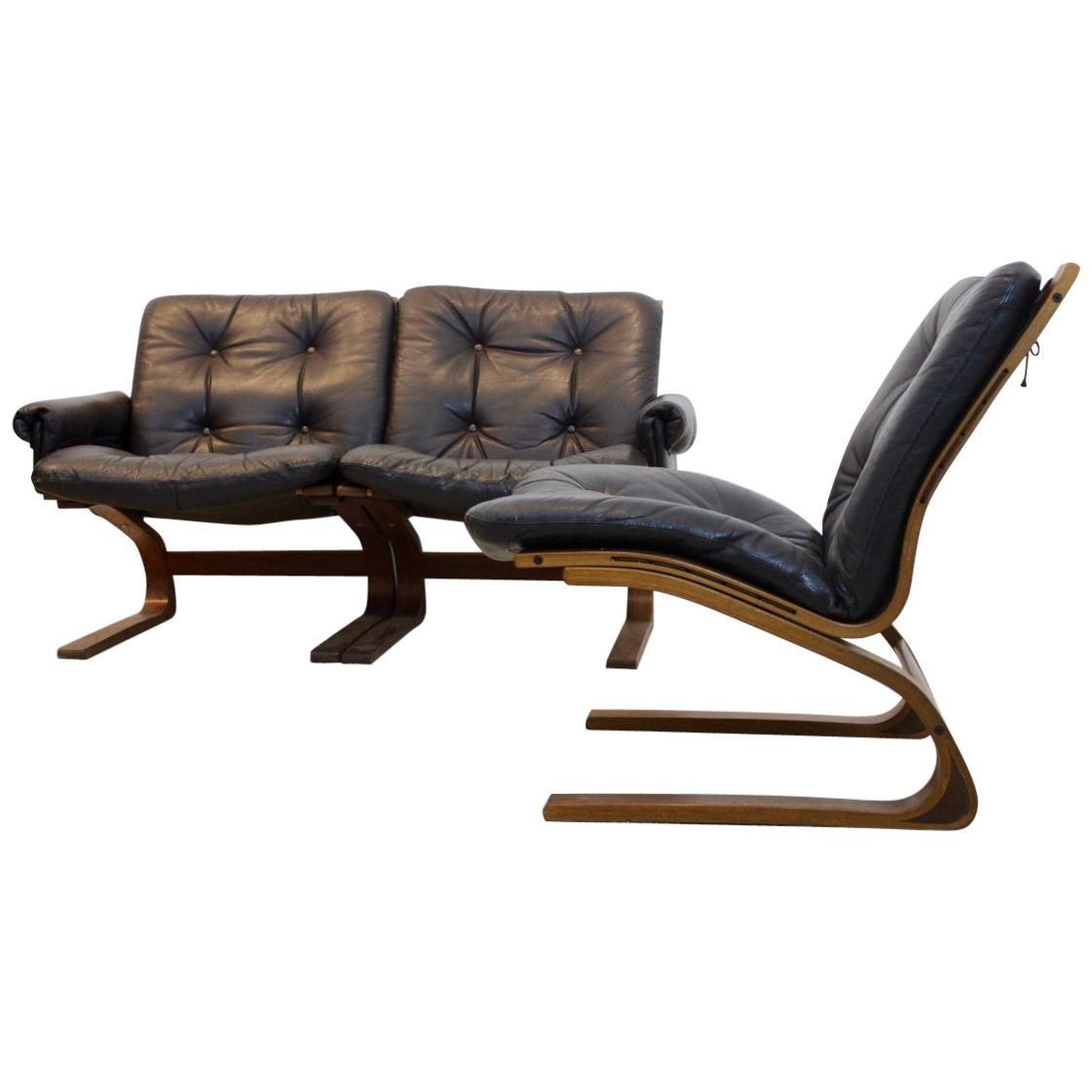 Norwegian Teak, Leather Kengu Sofa Set by Elsa & Nordahl Solheim for Rybo Rykken