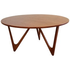 Teak Danish Modern Round Coffee or Side Table