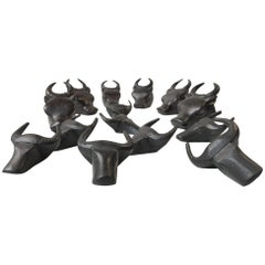 Vintage Set of Bull Napkin Rings in Ebonized Wood, Spain, 1970s