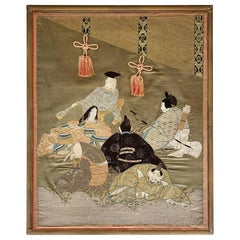 Framed Japanese Embroidery Textile Art from Meiji Period