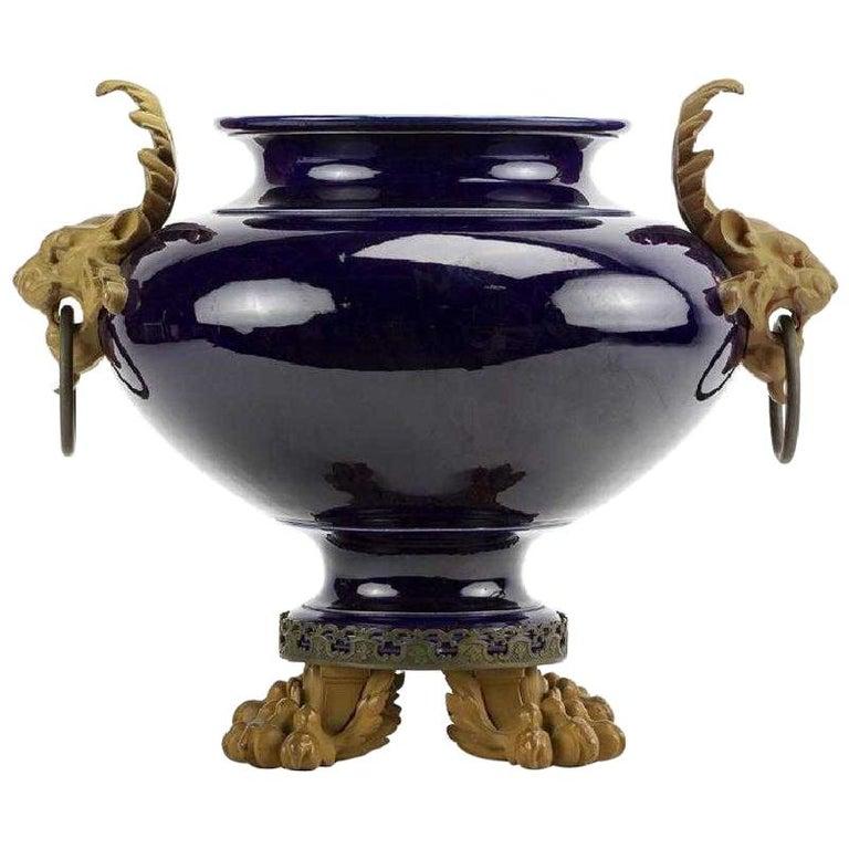 Gilt Bronze Mounted Cobalt Blue Porcelain Centerpiece For Sale