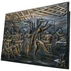 Art Deco Bronze Cigar Box with Medieval Theme by Holger Fridericias, 1930s