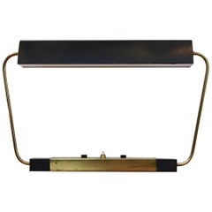 Rare Stilnovo Modernist Metal and Brass Table or Desk Light, Italy, 1960s