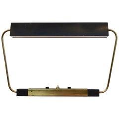 Rare Stilnovo Modernist Metal and Brass Table or Desk Light, Italy, 1960s