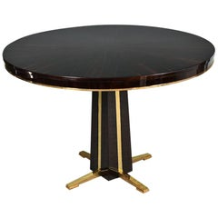 Art Deco French Round Table in Macassar with Brass Base