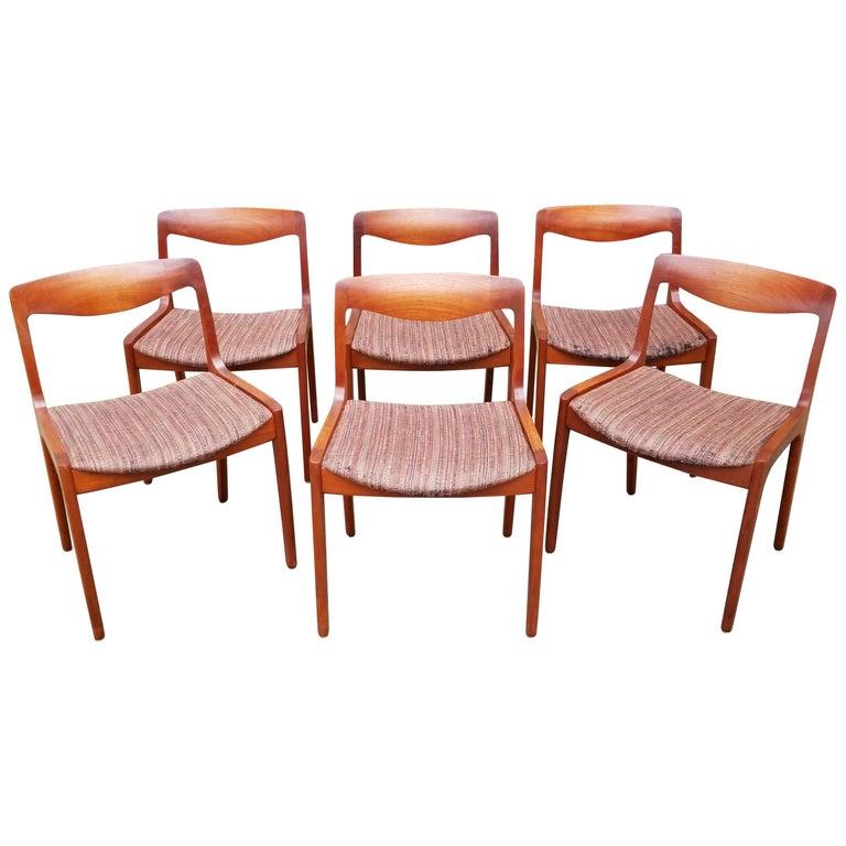 Wilhelm Volkert for Poul Jeppesen Danish Modern Dining Chairs, Set of 6 For Sale