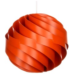 Turbo Orange Pendant by Louis Weisdorf for Lyfa in 1965, Vintage Edition
