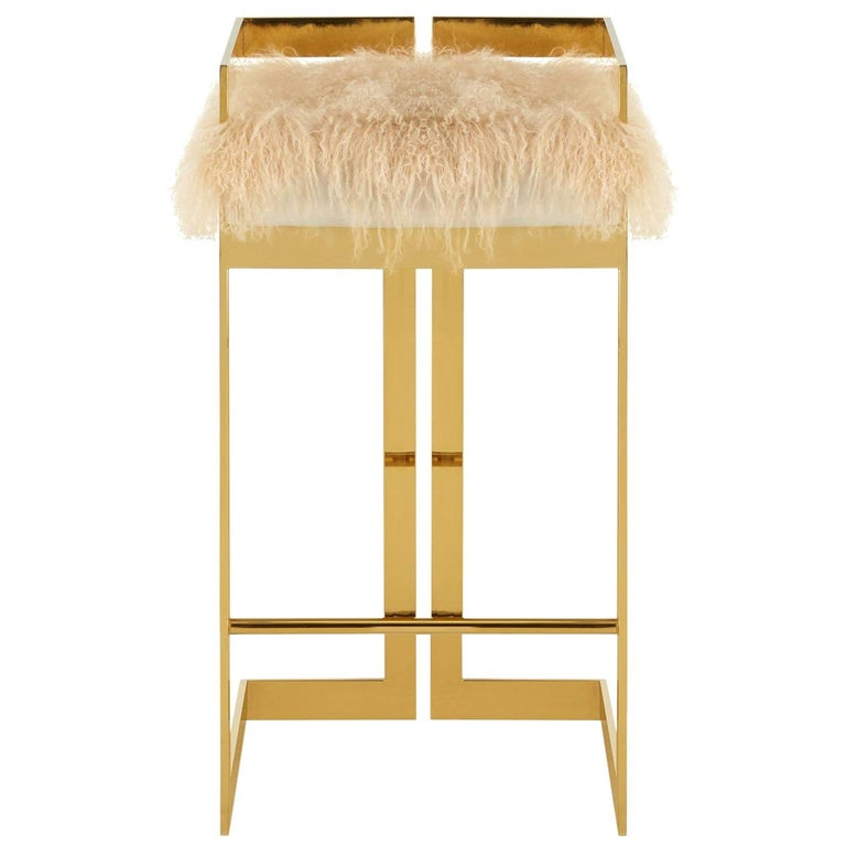Excellent Contemporary Bar Stool With Brass Base And Natural Mongolian Ibusinesslaw Wood Chair Design Ideas Ibusinesslaworg