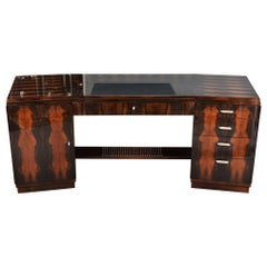 Grand Art Deco Style Desk in Walnut from France