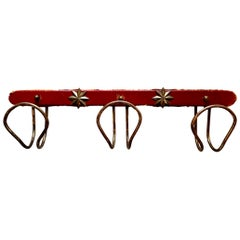 Jacques Adnet Red Leather and Brass Coat Rack