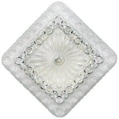 Vintage Glass Diamond / Square Flush Mount with Circle Motif