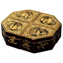 Antique 19th Century Set of Four Chinoiserie Lacquer Jewelry Boxes