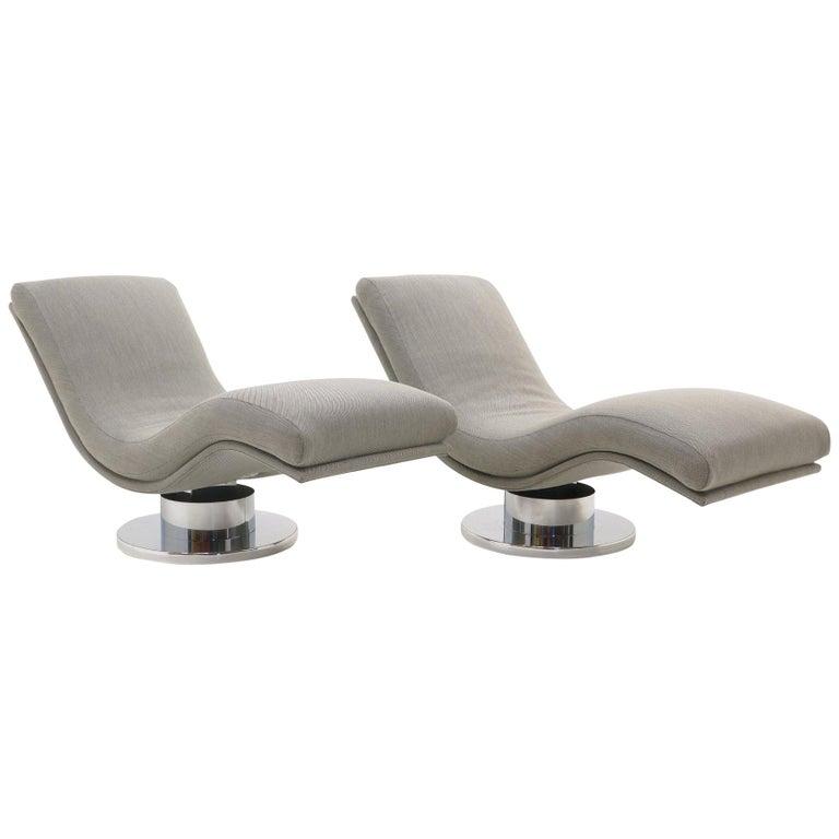 Marvelous Pair Tilt Swivel Wave Chaise Lounge Chairs Milo Baughman New Maharam Fabric Spiritservingveterans Wood Chair Design Ideas Spiritservingveteransorg