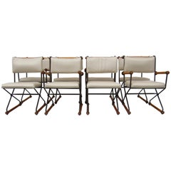 8 Cleo Baldon Chocolate Lacquer Wrought Iron Indoor Outdoor Chairs, circa 1966