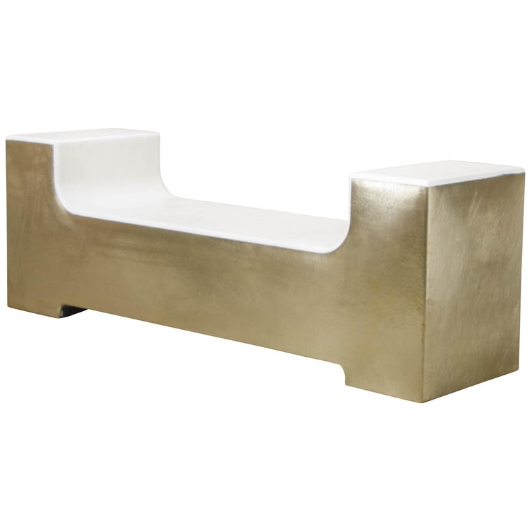 U Shape Bench, Cream Lacquer with Brass by Robert Kuo, Hand Repoussé For Sale