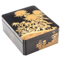 Japanese Black Lacquer Large Document Box with Gold Maki-E Design, Meiji Period