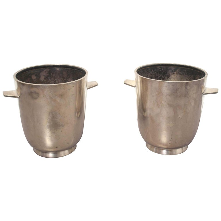 Gio Ponti Silver Plated Champagne Buckets for Fratelli Calderoni For Sale